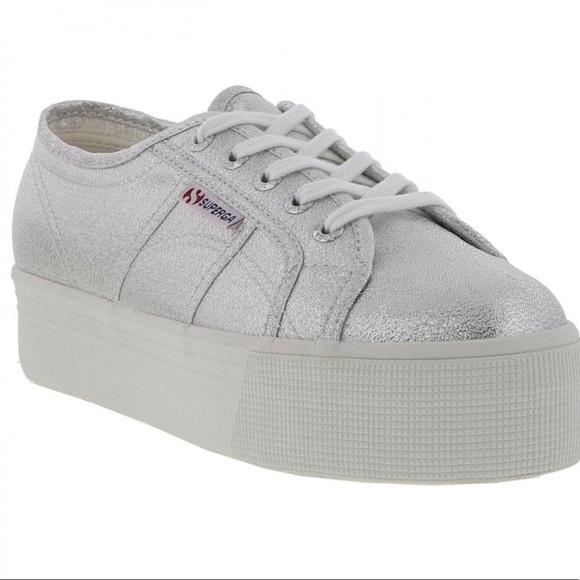 Silver Glittery Platform Sneakers